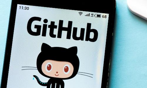 A GitHub logo seen displayed on a smartphone.
